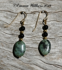 African Turquoise & Onyx Earrings