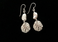 01 Seashore Silver Oyster and Pearl Earrings