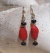 Onyx & Coral Earrings