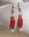 Red Coral nugget and Pearl Earrings