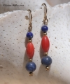 Coral and Lapis Earrings