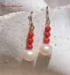 Freshwater Pearl & Red Coral Earrings