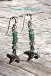 Hilltribe Silver Star & Roman Glass Earrings