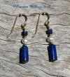 Lapis Tube Earrings - Gold
