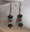 Onyx, Coral & Turquoise Earrings