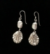 Seashore Silver Oyster and Pearl Earrings