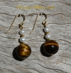 Tigereye Pearl Earrings
